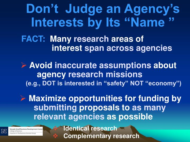 """Don't  Judge an Agency's Interests by Its """"Name """""""