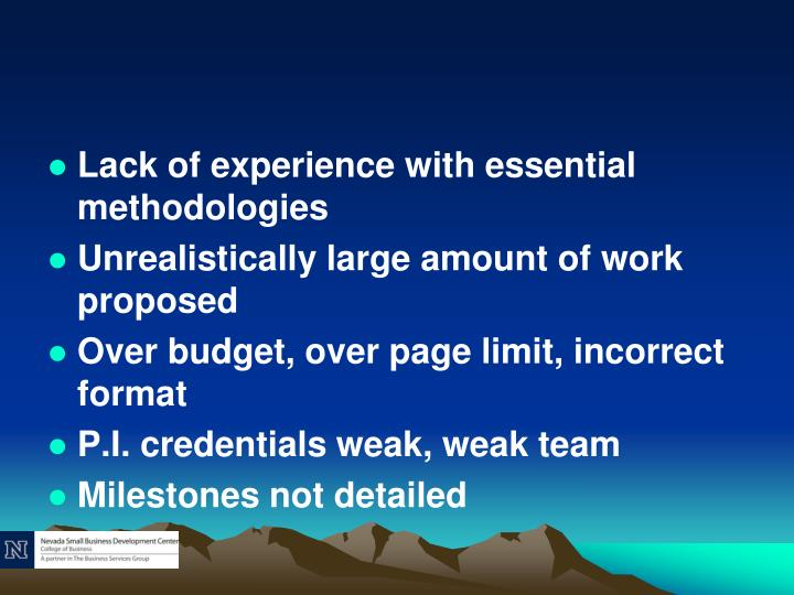 Lack of experience with essential methodologies