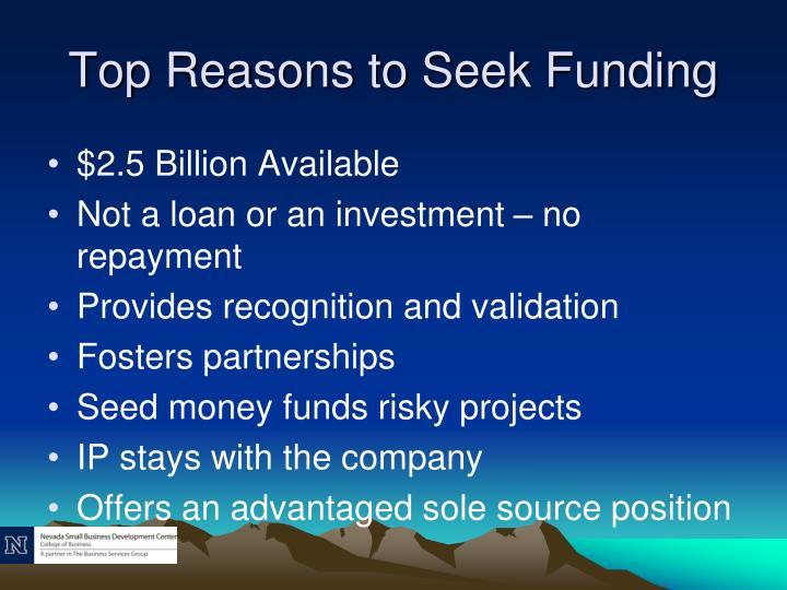Top Reasons to Seek Funding