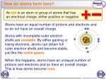 how do atoms form ions
