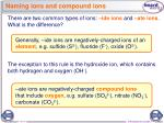naming ions and compound ions