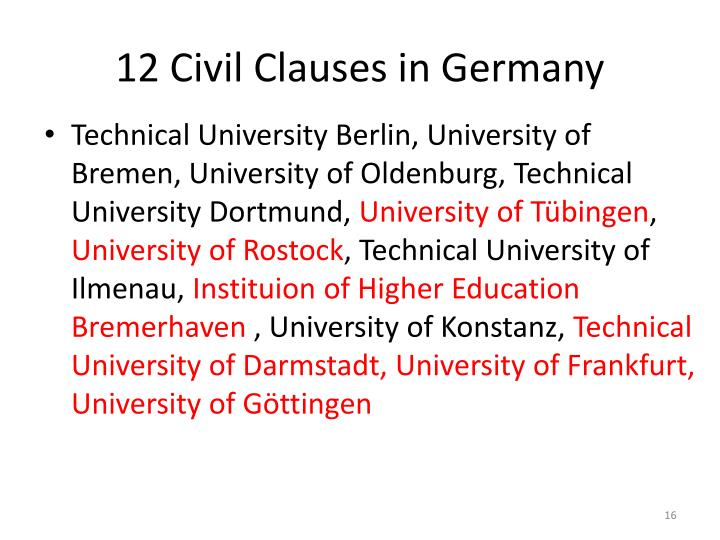 12 Civil Clauses in Germany