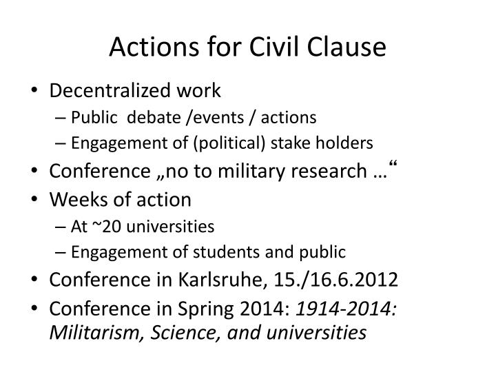 Actions for Civil Clause