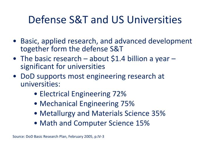 Defense S&T and US Universities