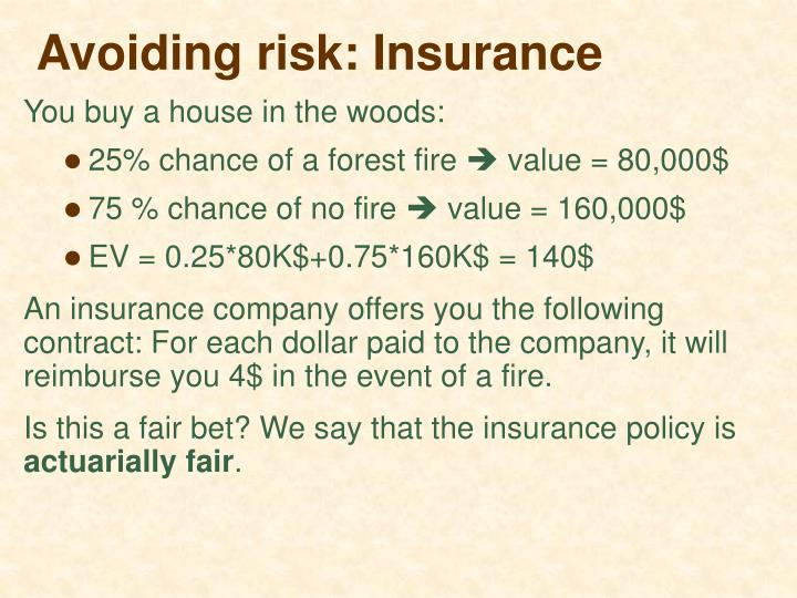 Avoiding risk: Insurance