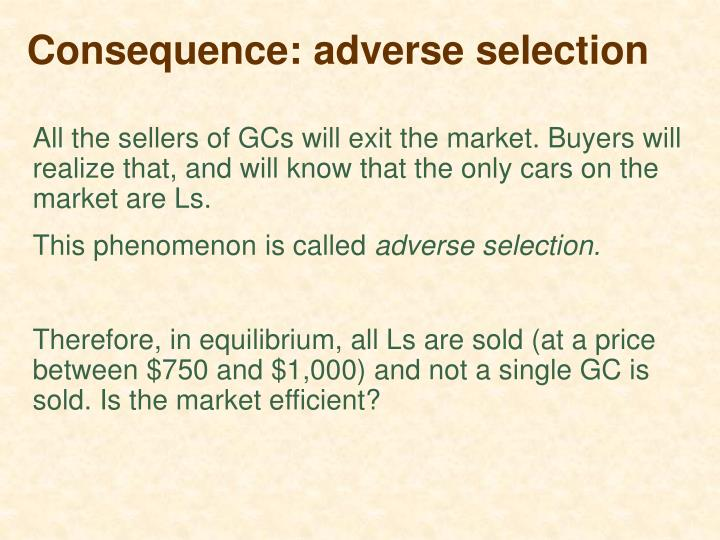 Consequence: adverse selection