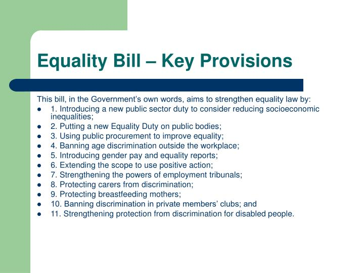 Equality Bill – Key Provisions