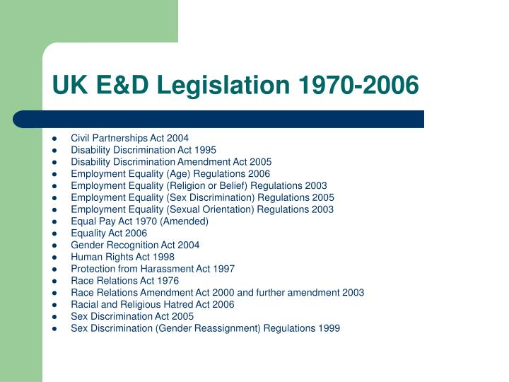UK E&D Legislation 1970-2006