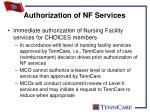 authorization of nf services