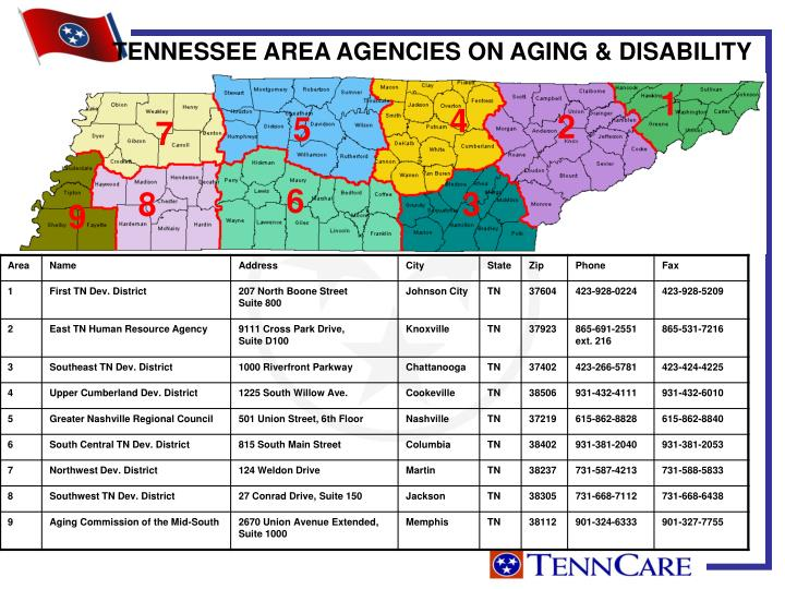 TENNESSEE AREA AGENCIES ON AGING & DISABILITY