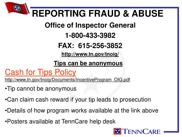 REPORTING FRAUD & ABUSE