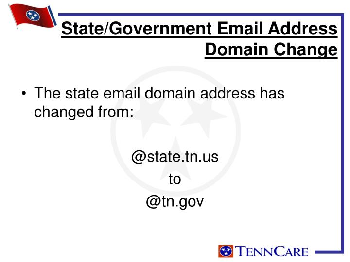 The state email domain address has changed from: