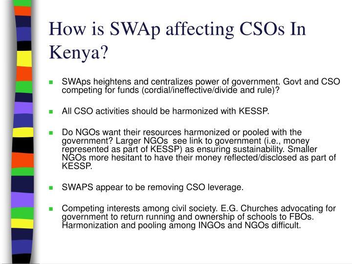 How is SWAp affecting CSOs In Kenya?