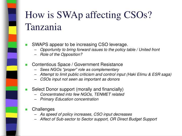 How is SWAp affecting CSOs?