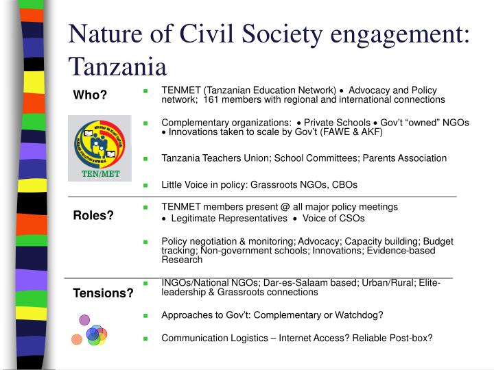 Nature of Civil Society engagement: Tanzania