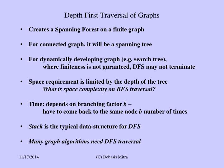 Depth First Traversal of Graphs