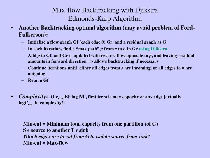 Max-flow Backtracking with Djikstra