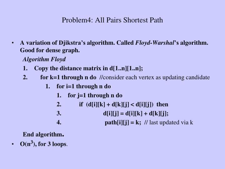 Problem4: All Pairs Shortest Path