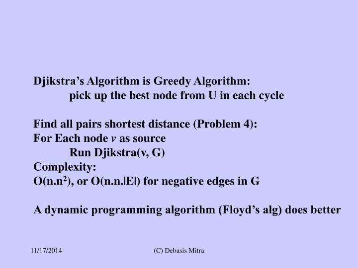 Djikstra's Algorithm is Greedy Algorithm: