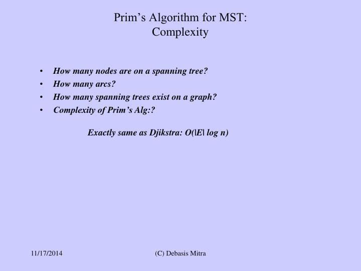 Prim's Algorithm for MST: