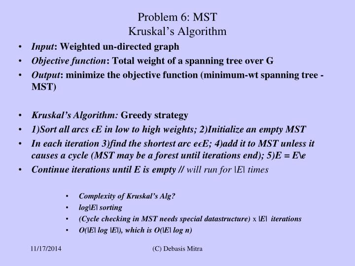 Problem 6: MST