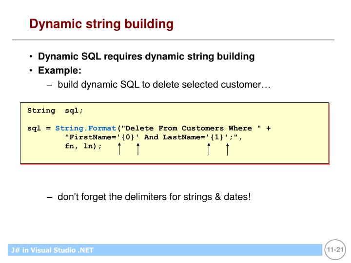 Dynamic string building