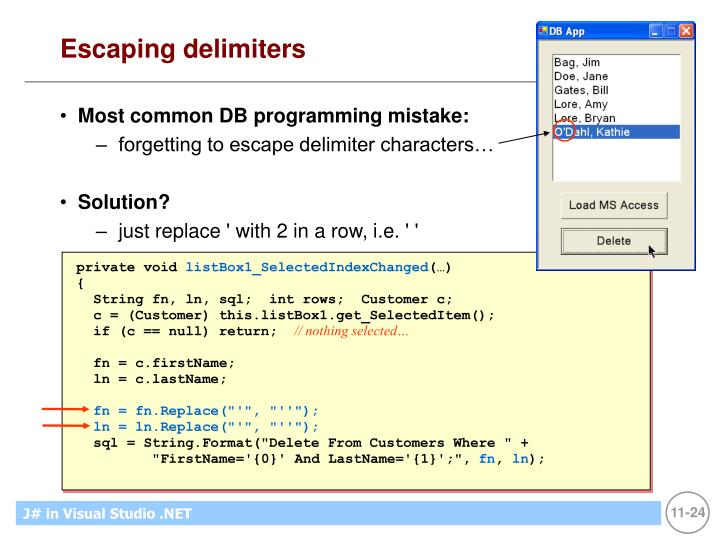 Escaping delimiters