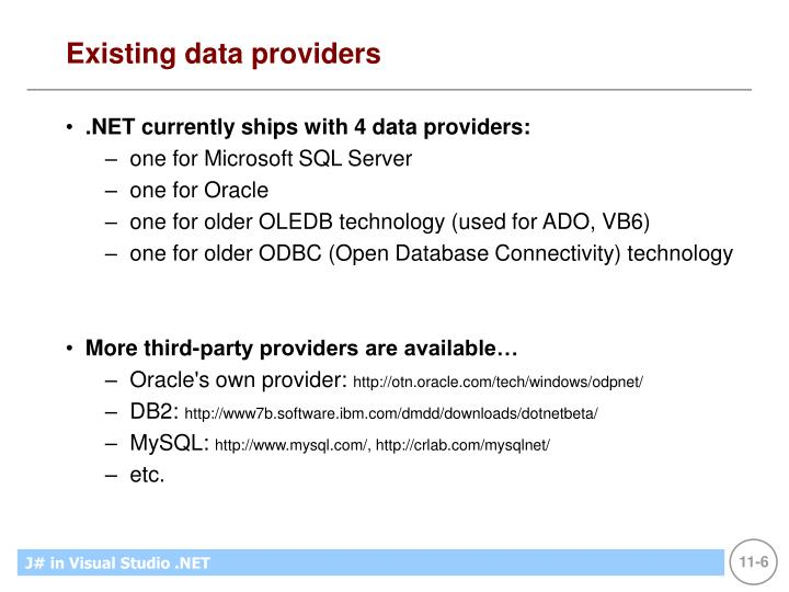 Existing data providers