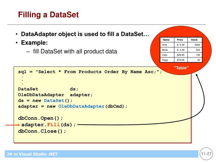 Filling a DataSet