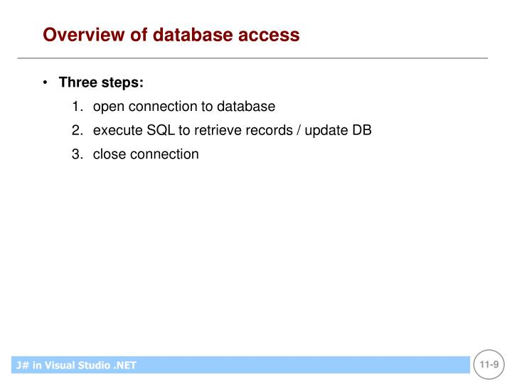 Overview of database access
