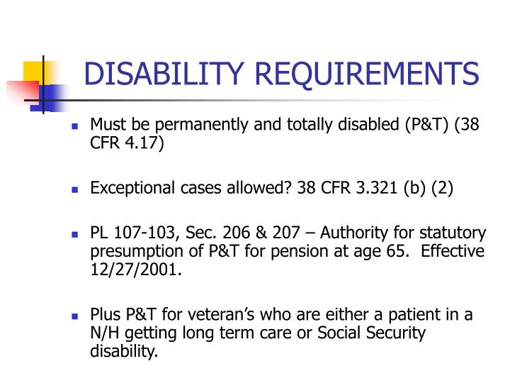 DISABILITY REQUIREMENTS