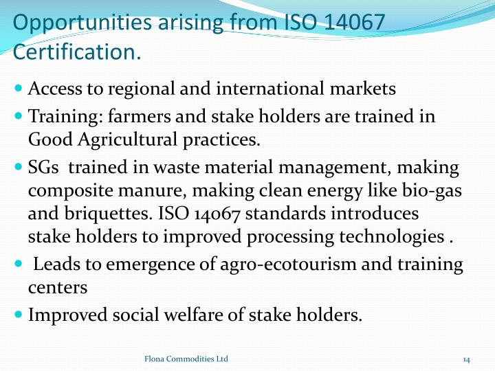 Opportunities arising from ISO 14067 Certification.