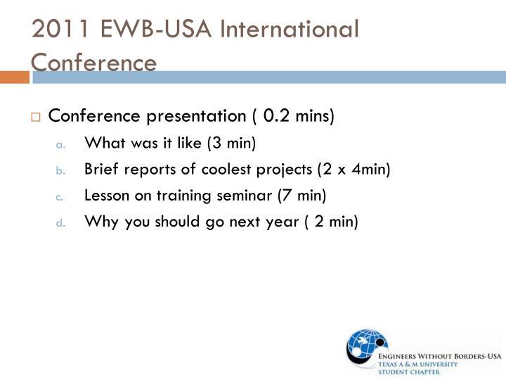 2011 EWB-USA International Conference