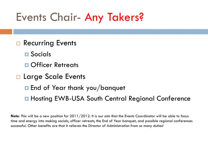 Events Chair-