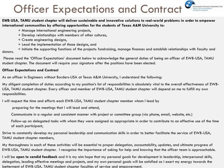 Officer Expectations and Contract