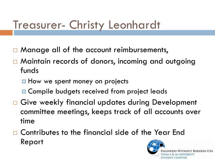 Treasurer- Christy