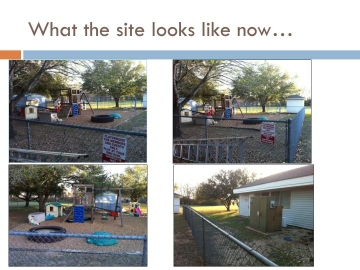 What the site looks like now…