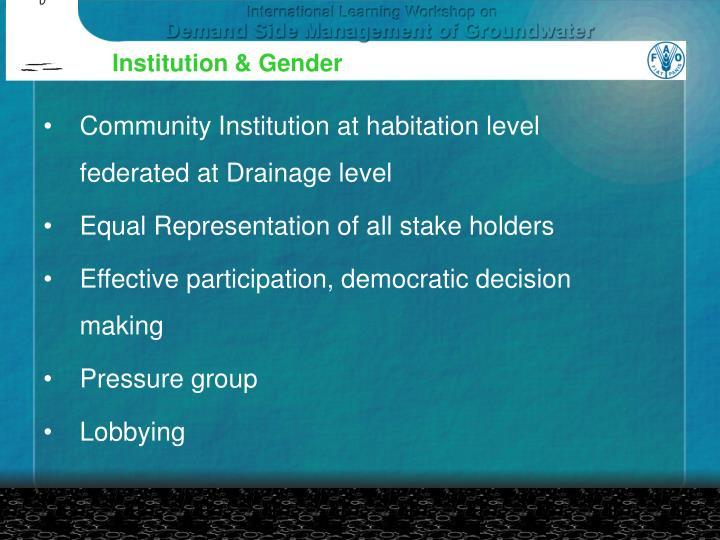 Institution & Gender