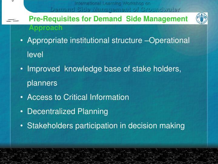 Pre-Requisites for Demand  Side Management
