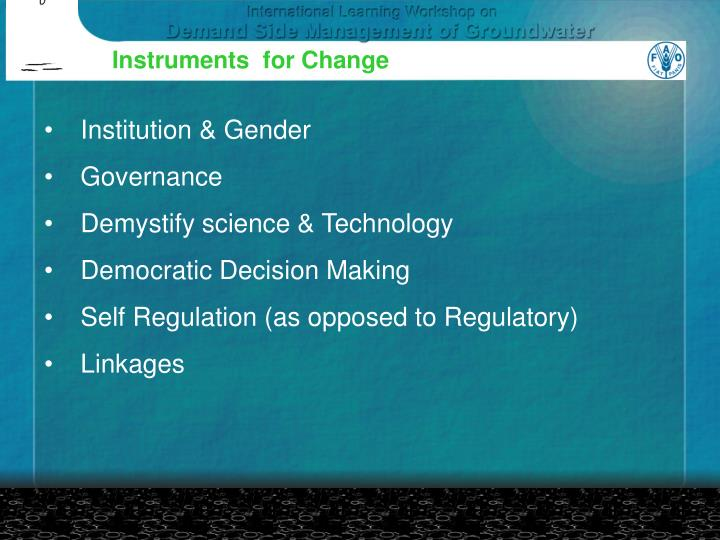 Instruments  for Change