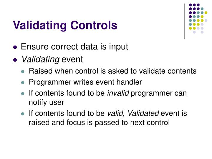 Validating controls