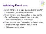 validating event contd
