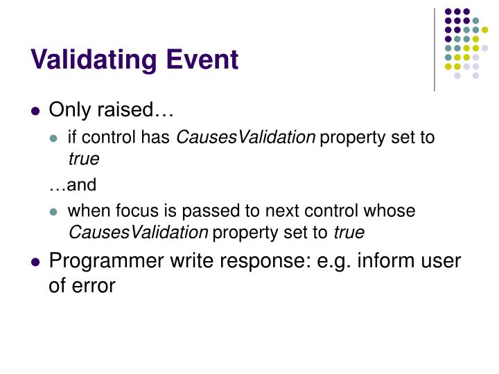 Validating event