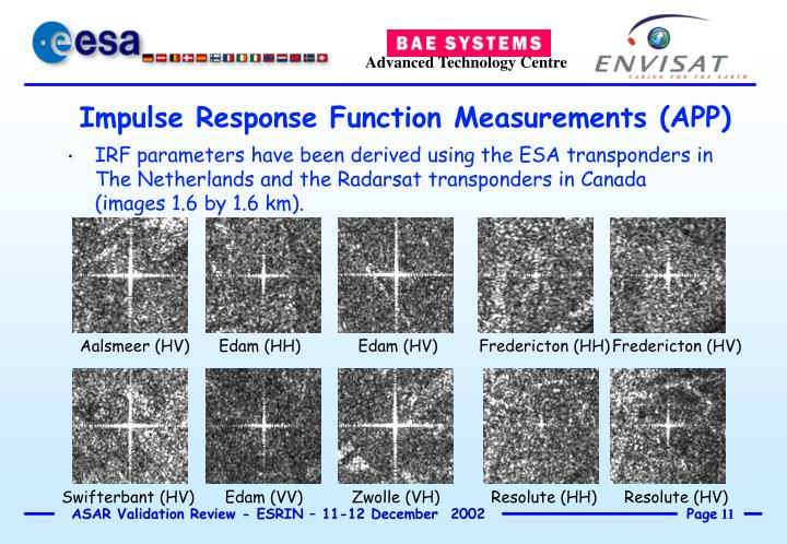IRF parameters have been derived using the ESA transponders in The Netherlands and the Radarsat transponders in Canada (images 1.6 by 1.6 km).
