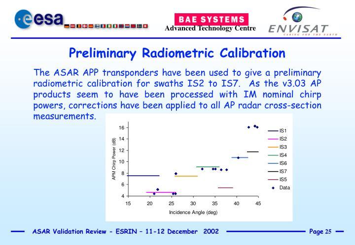 Preliminary Radiometric Calibration