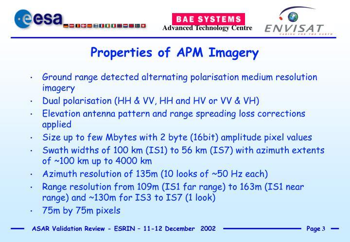 Ground range detected alternating polarisation medium resolution imagery