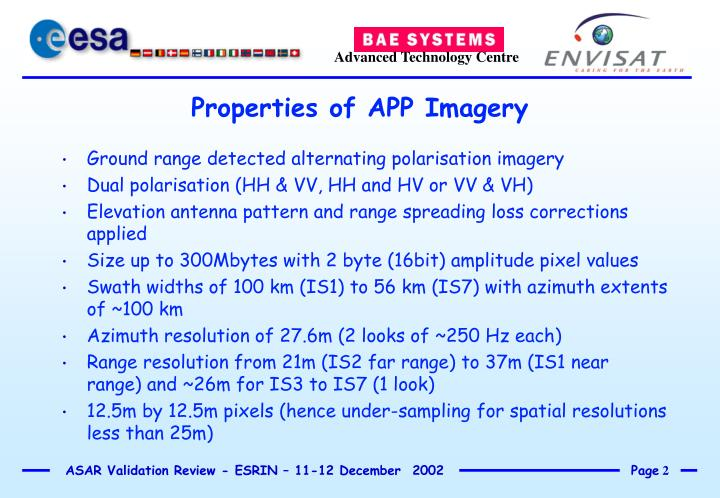 Ground range detected alternating polarisation imagery