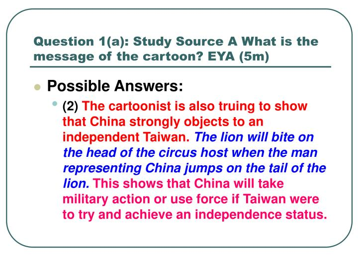 Question 1 a study source a what is the message of the cartoon eya 5m1