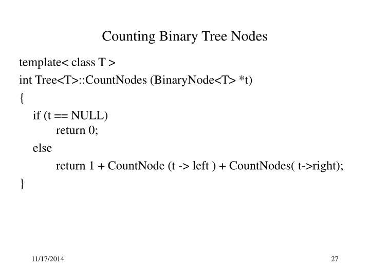 Counting Binary Tree Nodes
