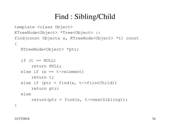Find : Sibling/Child